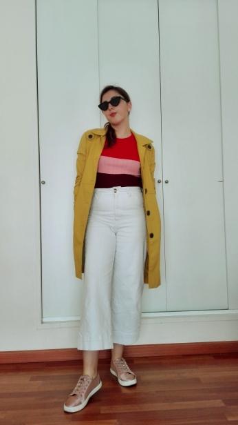 colourfulsweaterwhitejeansyellowcoat