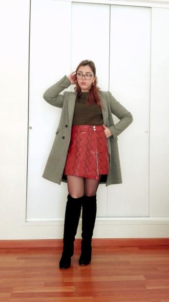 greensweatersnakeskinskirt